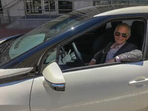 Gus Block, Director of Marketing and Corporate Development at Nuvera, testing one of the Fuel Cell Vehicles featured at the event.