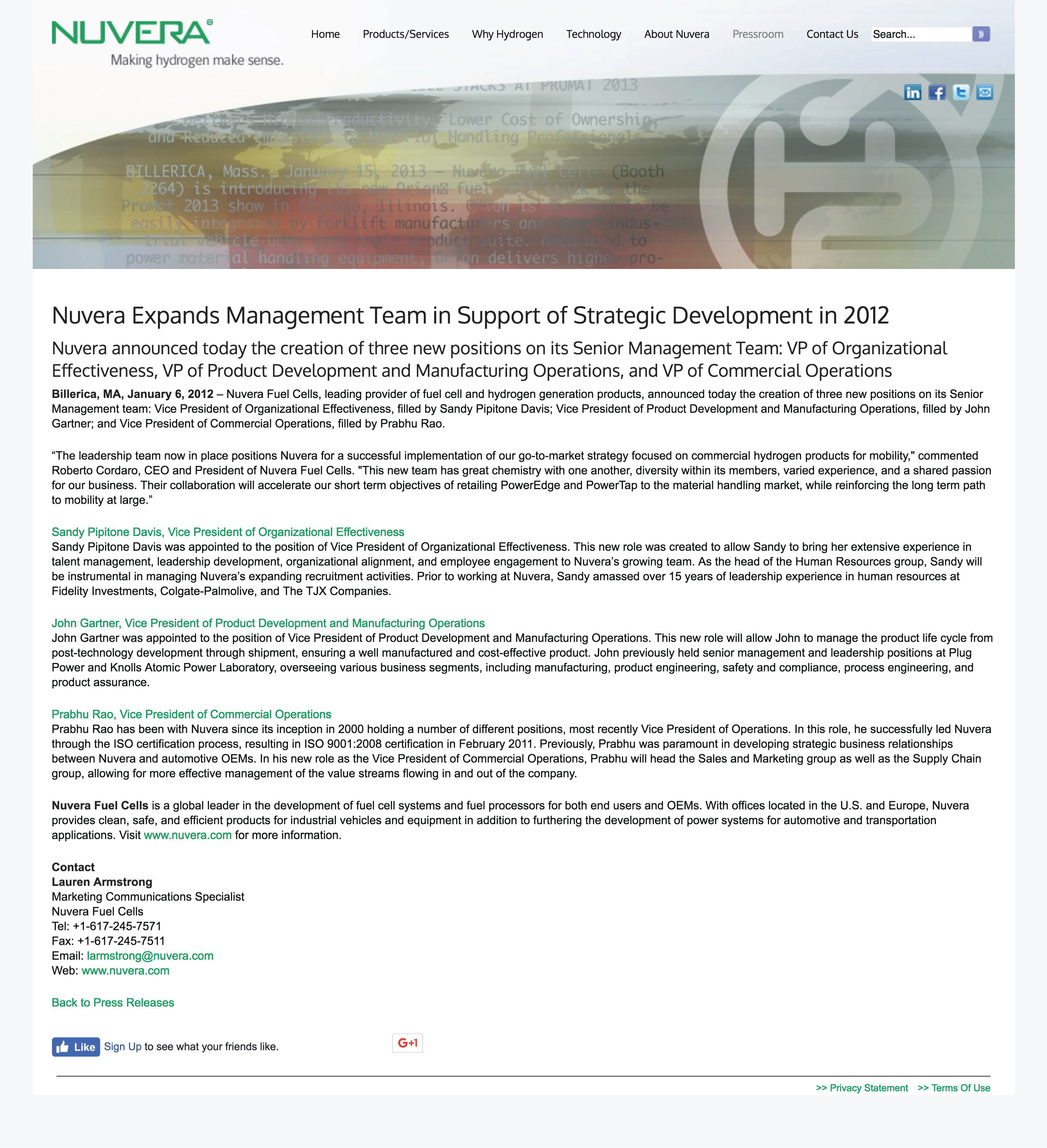 Nuvera Expands Management Team in Support of Strategic Development in 2012